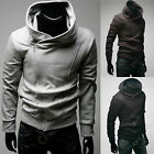 Mens Long Sleeve High Neck Hoodie Hooded Sweatshirt Zip Coat
