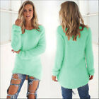 UK Womens Fluffy Sweater Jumper Ladies Winter Long Sleeve Pullover Tops Blouse