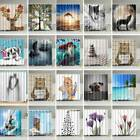 20 Styles Waterproof Fabric Bathroom Shower Curtain Sheer Panel Decor 12 Hooks