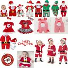Baby Boy Girl First Christmas Xmas Outfit Dress Jumper Costume Clothes Props Hat