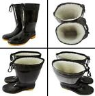 Mens Fur Lined Waterproof Ankle Wellies garden Mid-calf Rain Boots casual Shoes