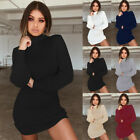 Womens Bodycon Knitted Long Sweater Dress Jumper Winter Pullover High Neck Tops