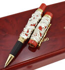 Jinhao Dragon Phoenix Rollerball Pen with Wooden Box, Sliver & Red Writing Pen