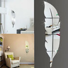 7F68 DIY Modern Feather Style Acrylic Mirror Wall Stickers Room Decoration Silve