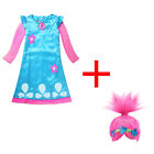 Kids Trolls Costume Little Girl Princess Poppy Cosplay Outfit Dress Halloween US