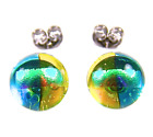 """DICHROIC Post EARRINGS Yellow Blue Green Striped Fused GLASS STUDS 1/4"""" Tiny"""
