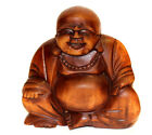 Laughing Happy Buddha Wooden Budai Big Belly Statue Carving Hotei Nice Gift