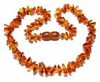 Genuine Baltic Amber Baby Necklace Child Mixed Chips Knotted  13.8 - 14.6 in