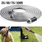 Stainless Steel Metal Garden Hose Water Pipe 25/50/75/100FT Flexible Lightweight