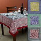 French Country Cotton Geometric Tablecloth Square Table Linen Napkin