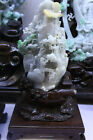 30CM Chinese Emerald Green Jade Jadeite Hand carved mountain tree people AABD