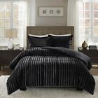3pc down alternative black faux fur comforter bedding set