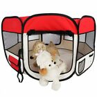 Portable Exercise Playpen Pet Dog Puppy Folding Fence Play Pen Kennel Crate Red