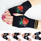 Women Fingerless Mittens Knitted Gloves Black Casual Combed Cotton Cold Weather