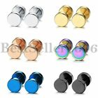 Mens Womens Stainless Steel Round Barbell Dumbbell Screw Back Stud Earrings Set