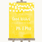 Wedding Sign Poster Print Yellow Watercolour Lights Blow Bubbles