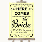 Wedding Sign Poster Print Yellow Here Comes Bride Aisle Sign