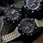 Mens Outdoor Sports Military Waterproof Dual Time LED Light Digital Analog Watch image