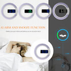 Mirror Alarm Clock Light Wall Mount Snooze Digital Thermometer Ring 12/24 hour