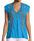 Johnny Was JWLA Vernazza Deep Scoop  Tee Women's Top  Embroidered  J15918