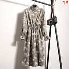 UK Vintage Womens Floral Stripes Long Sleeve Ladies Casual Paty Long Shirt Dress <br/> ❤ 25 Styles ❤ Button ❤Ruffle Stand Collar❤High Quality❤
