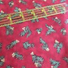 RJR cotton fabric Christmas deep red pine needle berry bow GOLD BTHY half yard