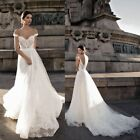 Sexy Bohemian Wedding Dresses Long Tulle Lace Bridal Gown Custom Size 2+4+6+8+++
