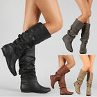 Kyпить Womens Slouch Mid-Calf Boots Ladies Flat Slip On Knee High Boot Shoes Casual US на еВаy.соm