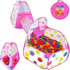 Playz 3pc Kids Play Tent Crawl Tunnel and Ball Pit Pop up Playhouse Tent with