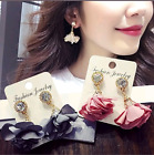 Flower Cloth Petals Womens Floral Earrings Retro Rhinestone Crystal Fabric