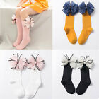 Fashion Candy Color Soft Cotton High Knee Sock Big Bow Long Socks Baby Sock