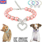 Pet Puppy Dog Piggy Pearl Necklace Accessories Love Shape Pendant Cats Collar UK