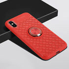 Slim Weave Pattern Soft Car Ring Holder Case Cover for iPhone Xs Max XR X 7 8 6s