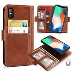 Magnetic Leather Card Wallet Case + Tempered Glass Film For iPhone XS X 7 8 Plus