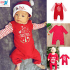 Newborn Baby Christmas Outfits Girls Boys Letter Rompers Jumpsuit Set US Stock
