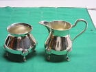 India Demi Sugar & Creamer in fine silverplate with feet new hand crafted