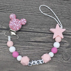 Personalised Name Silicone Baby Clips Nipple Pacifier Chain with Mouse Holder