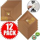 """Ceiling Tiles 12""""x12""""White Gold Mirror Peel and Stick Easy Installation Panels"""