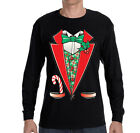 Mens Tuxedo Shirt Bowtie Ugly Sweater Costume Christmas Long Sleeve T-Shirt