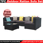 7pc Rattan Sofa Set Wicker Garden Furniture Outdoor Sofa Lounge Couch Setting
