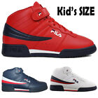 cc875a3a91d8 Kids Fila F13 F-13 Classic Mid High Top Basketball Shoes NAVY RED 3VF80117
