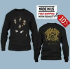 Rare Queen Rock Band Black 2018 Logo long sleeve T-shirt limited stock image