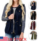 Womens Cargo Utility Safari Vest Multi Pockets Military Bomber Zip-Up Top Jacket