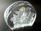 CLEAR GLASS PAPERWEIGHT CHRISTMAS POINSETTIA FRANCE CRISTAL d'ARQUES (A17)
