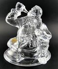 GLASS CRISTAL D'ARQUES PAPERWEIGHT CHRISTMAS SANTA DRINKING COCA COLA FRANCE (E2
