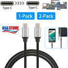 1/2X USB C Type-C to Type-C Charging Data Sync Cable for Mabook Galaxy Note 9 S9