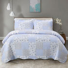Bed Quilt Set Bedspread Coverlet Twin Full/Queen Blue Lightweight Microfiber image