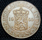 1945 Nederland East Indie 2 1/2 Cent  coin, UNC (plus FREE 1 coin) #D2203