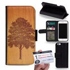 PIN-1 Art Wood Art Painting Design Phone Wallet Flip Case Cover for Samsung
