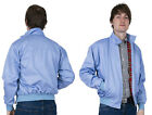 Men's Harrington Jacket Light Blue Bomber Tartan Lined Skinhead Mods Relco